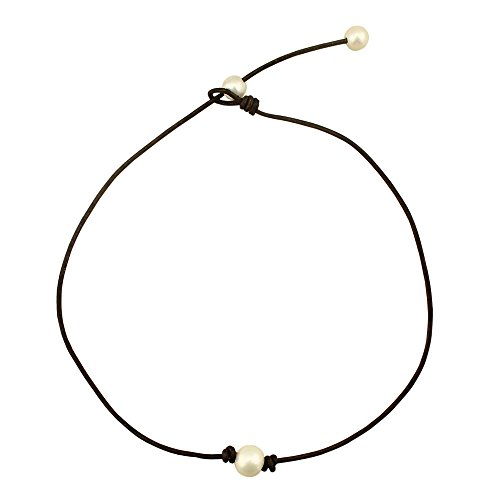 Annie Pearl Handmade Single Pearl Choker Necklace on Brown Genuine Leather for Women Annie Pearl