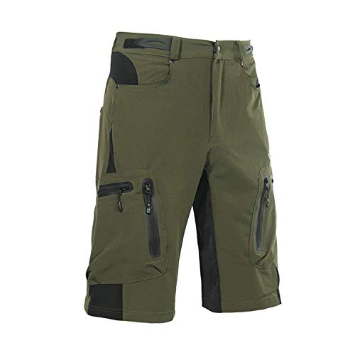 (Arsuxeo Mens Mountain Biking Breathable Shorts,Fit Cycling Baggy Pants with Zip Pockets ArmyGreen US L/Tag XL)