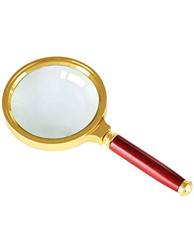 5/4/2.5x Alloy Frame Magnifying Glass, All-optical Hand-held Magnifying Glass with High Definition and Lightweight, Gold-plated Framed Wooden Handles, View Books, Newspapers, Antiques, Miniature Model
