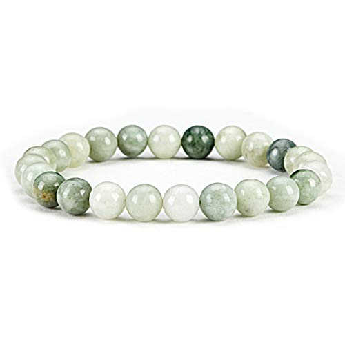 Cherry Tree Collection Gemstone Beaded Stretch Bracelet 8mm Round Beads | Small (Burma Jade)