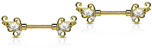 14g 1/2 Inch (12mm) 14k Gold Plated Floral CZ Crystal Nipple Ring Barbell Set