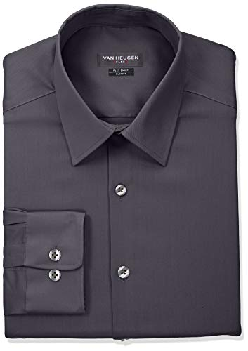 Van Heusen Men's Flex Collar Slim Fit Stretch Dress Shirt, Charcoal, 16.5