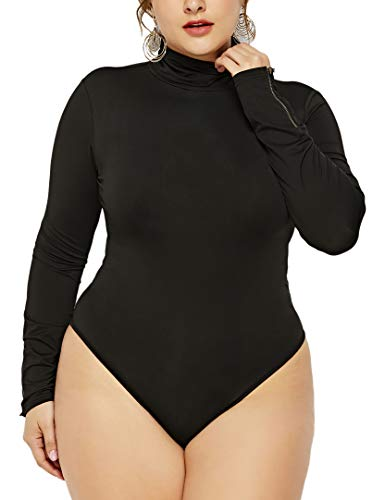 ALERDON Women's Plus Size Zipper Long Sleeve Bodysuits Basic Leotard (2XL, Black) -