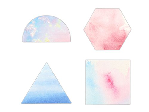 Self-Stick Notes, Scratch Pads, 4 Pads/Pack, 30 Sheets/Pad (Watercolor&Geometry)