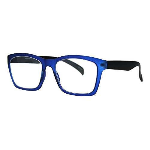 Reading Glasses Flexible Rectangular Matted Frame Magnified Readers Blue - Latest Trend In Eyewear