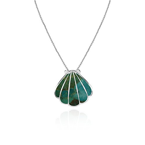 (Sterling Silver Simulated Turquoise Seashell Slide Pendant Necklace)
