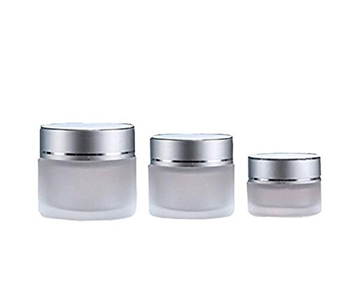 10g/20g/30g 2PCS Clear Glass Refillable Cosmetic Jars Empty Face Cream Lip Balm Storage Container Pot Bottle With White Lids