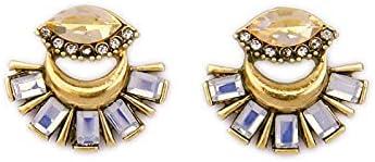 Cats Eye White Flower Clip On Earrings Women Punk Pierced Earrings