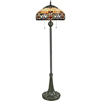 Amazon Com Quoizel Tf878f Kami Flower Tiffany Floor Lamp 2 Light 200 Watts Vintage Bronze