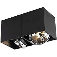 QAZQA Moderno Foco diseño rectangular 2 luces negro 2xG9 - BOX Aluminio…