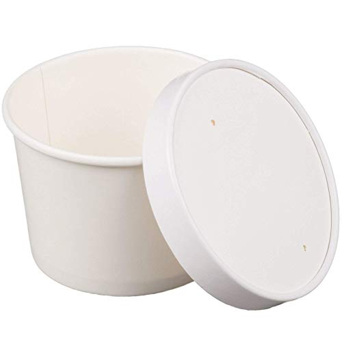 MM Foodservice Heavy Duty Paper Cups with vented lids, Hot/Cold Paper Cups, Soup and Ice Cream Containers with Lids (50, 12-Ounce)