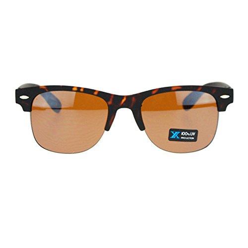 Mens Rubberized Matte Half Rim Clubmaster horned Spring Hinge Sunglasses - Matte Tortoise Clubmaster