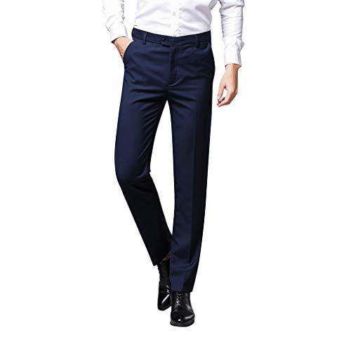 NIUQI Men's Fashion Pure-Coloured Trousers for Self-Cultivation Trouser Pant