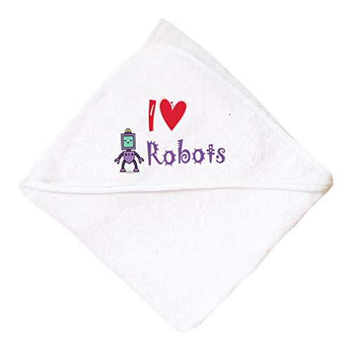 I (Heart) Robots Boys-Girls Cotton Baby Hooded Towel - White, One Size ()