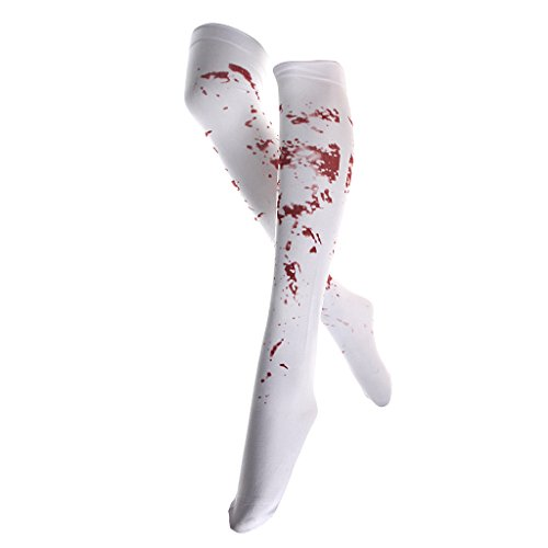 White Bloody Zombie Blood Stained Stockings Halloween Party Fancy Dress