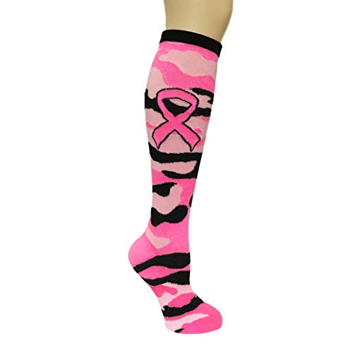 Pink Ribbon Camo Camouflage Breast Cancer Awareness Knee High Socks Sports Teams