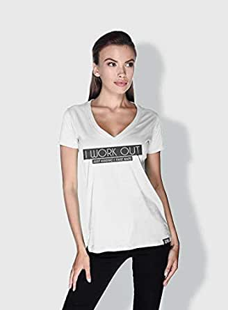 Creo I Work Out Funny T-Shirts For Women - M, White
