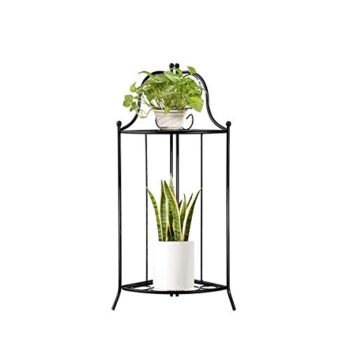 Yolafe Plant Stand 2 Tier Metal Corner Flower Stand Foldable Floor Flower Pot Shelf for Floor Balcony Indoor and Outdoor Living Room,Black (Stand Corner Plant)