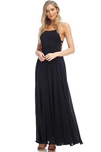 Mini Women's with Strap and Lining Maxi Spaghetti Dress Chiffon Backless Maxi Black qpfpE