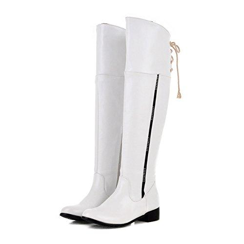Fashion Heel Womens Low Heel Round Toe Above the Knee Boot White b918HMEpKX