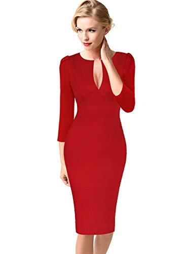VFSHOW Womens Sexy Elegant Deep V Neck Cocktail Party Bodycon Sheath Dress 1040 RED XS ()
