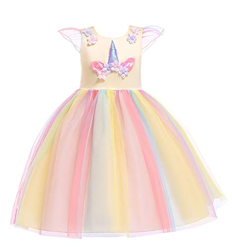 Princess Bird Costumes for Girls Party Special Occasion Dress Birthday Graduation Holiday Big Girl Dresses Ball Gown Childrens Beautiful Formal Party Prom Size L(6) 5-6 Years Yellow 130
