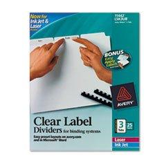 * Index Maker Clear Label Unpunched Divider, 3-Tab, Letter, White, 25 Se