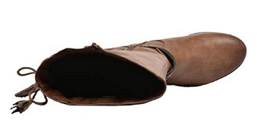 Stivali 11sunshop Modello In Pelle Crosta Di Gillian Design In 33-44 Solo Per Misura Del Piede Marrone