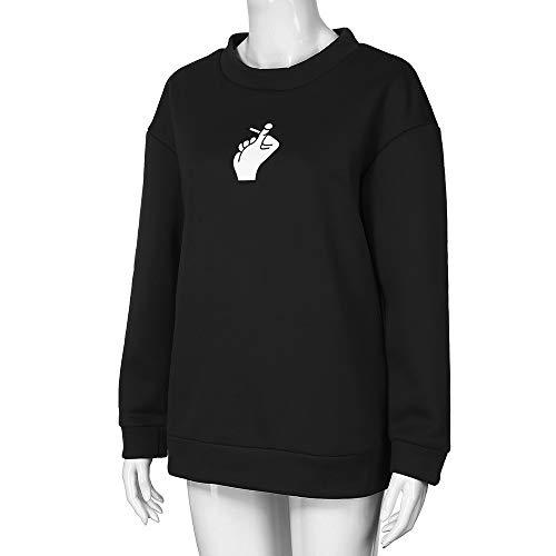 Tee Fashion Printed nera Shirt Camicetta Chic lunghe Aimee7 maniche T Donna Top a Camicia gdqpRxp1w
