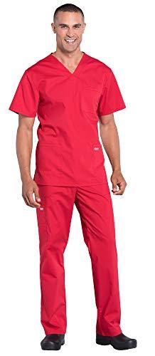 CHEROKEE Workwear Professionals Men's 4 Pocket V-Neck Scrub Top WW695 & Men's Drawstring Cargo Scrub Pants WW190 Medical Uniforms Scrub Set (Red – X-Large/XL Short)