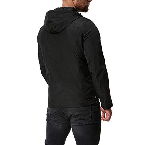 Hood Zipper Bomber Outwear XINHEO Coat 4 Plus Mens Coat Solid Size Jacket qxYHTTt8