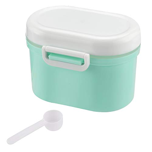Portable Formula Dispenser with Scoop by Accmor, BPA Free Milk Powder Container, Food Storage, Candy Fruit Box, Snack Containers, for Infant Toddler Children Travel (Green) (Tippee Tommee Inserts)