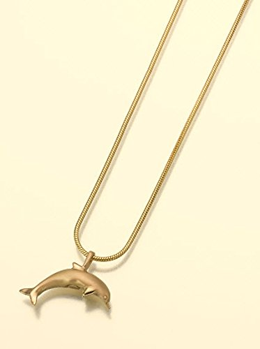 - Gold Vermeil Dolphin Cremation Pendant Attractive Black Velvet Gift Box