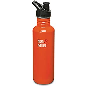 Klean Kanteen Stainless Steel Bottle with 3.0 Sport Cap (Flame Orange Red, 27-Ounce)