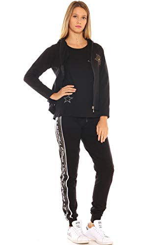 In Key di Cotone Felpa Strass Con Donna Stretch Nero BOtOq