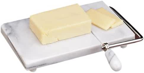 Premium Marble Cheese Slicer/Cutter, Includes 2 Replacement Stainless Steel Wires, White