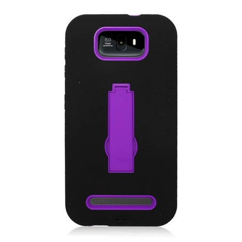 CYstore RUGGED (Type 2) Dual Layer Armor Cover Case With Kick Stand For Blu Studio 5.5 / D610 (Include a CYstore Stylus Pen) - Purple/Black