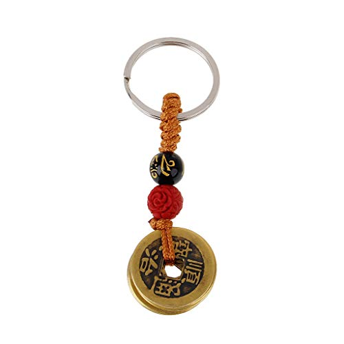 P-RULER Fortune Chinese Feng Shui Antique Coins Keychain for Wealth and Success Jewelry