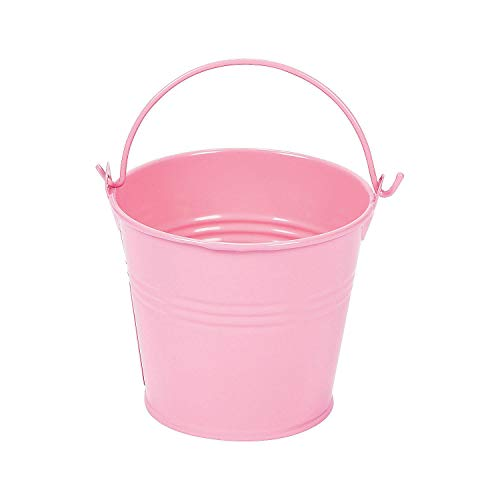 "Fun Express - 3"" Pastel Pink Metal Pails W/Handles - Party Supplies - Containers & Boxes - Metal Containers - 12 Pieces"