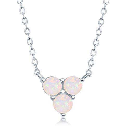 - Sterling Silver Created White Opal Triangle Triple Cluster Necklace