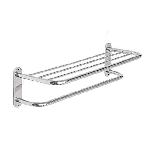 (TEHWDE New Bathroom Towel Rack Shelf tainless Steel Double Towel Row Towel Shelf Wall-Mounted Shower Shelf Organizer for Bathroom Load 10kg)