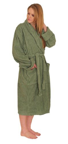 NDK New York Womens Chenille Robe Mid Calf Length 100% Cotton Shawl Collar Large/XL Seagreen