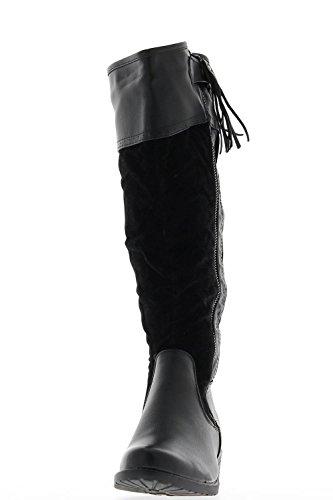 Schwarze gefütterte Stiefel mit Absatz 3,5 cm Bi-material