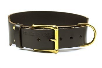 Dean & Tyler  B and B Black Basic Leather Dog Collar with Solid Brass Hardware, Size 10-Inch by 1-Inch, Fits Neck 8-Inch to 12-Inch