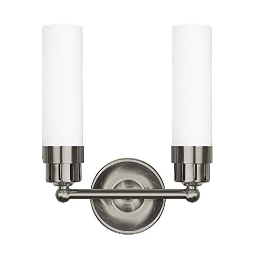 Langdon Mills 10210 Notting 2-Light Bathroom Vanity Light, Brushed Nickel