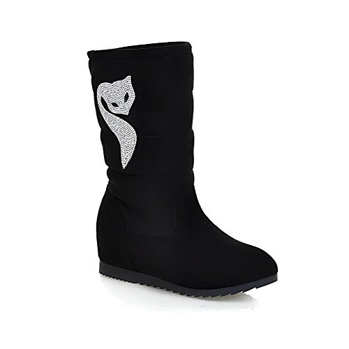 with Closed Toe Glass Women's Heels Black Boots Round AmoonyFashion Toe Low Diamond IC8wnq