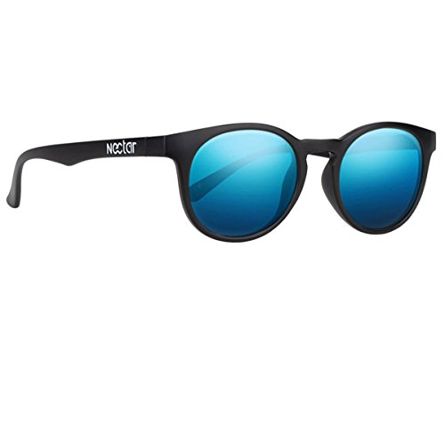 NECTAR Round Eye Polarized Sunglasses for Men & Women with Glare Blocking Lenses and UV Protection (Black Frame | Blue Mirror Euphoric H D Polarized - Create Own Your Glasses