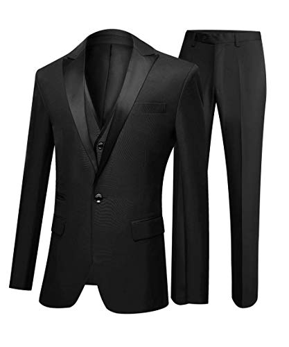 One Button 3 Pieces Charcoal Wedding Suits Notch Lapel Men Suits Groom Tuxedos Charcoal 34 chest / 28 waist