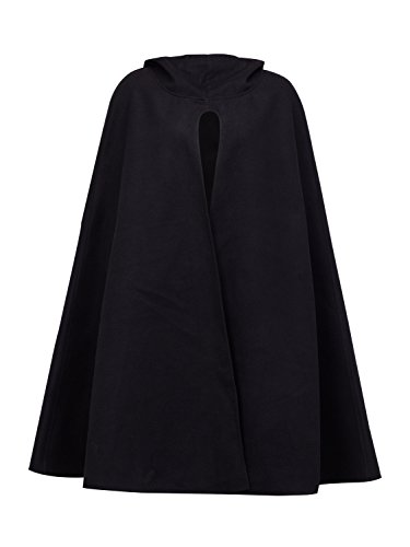 Cape Outerwear - Clothink Women Black Wool Hooded Split Front Poncho Cape M