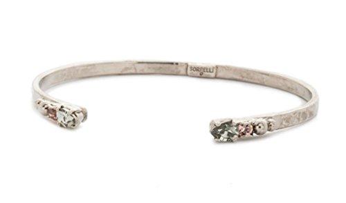 Sorrelli Army Girl Simple Styling Pink & Grey Crystal Silvertone Open Cuff Bracelet ()